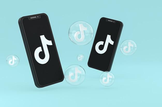 화면 휴대 전화에 tiktok 아이콘 3d 렌더링