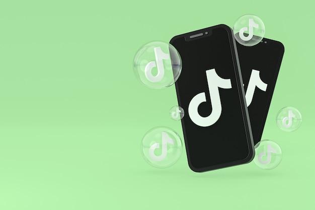Значок tiktok на экране мобильных телефонов 3d визуализации