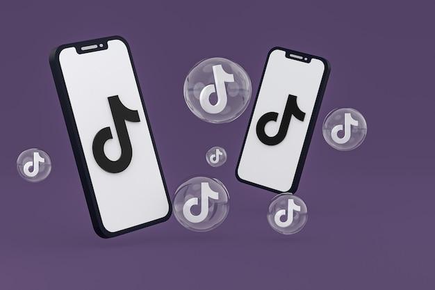 画面の携帯電話のtiktokアイコン3dレンダリング