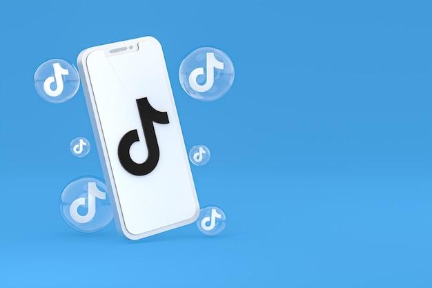 Значок tiktok на экране смартфона или мобильного телефона 3d визуализации на синем фоне