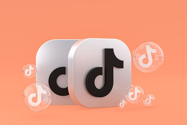 Значок tiktok на экране смартфона или мобильного телефона 3d визуализации на оранжевом фоне