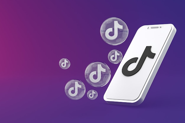 Значок tiktok на экране смартфона или мобильного телефона 3d визуализации на фиолетовом фоне