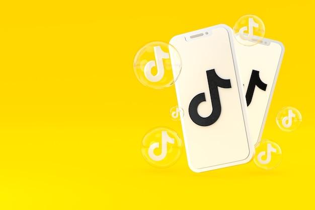 Значок tiktok на экране смартфона или мобильного телефона 3d визуализации на желтом фоне