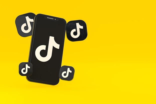 画面上のスマートフォンまたは携帯電話の3dレンダリングのtiktokアイコン