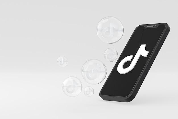 Значок tiktok на экране смартфона или мобильного телефона 3d визуализации