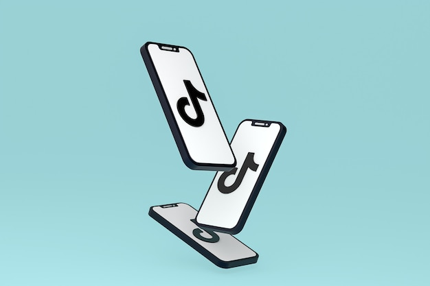 Tiktok icon on screen smartphone or mobile phone 3d render