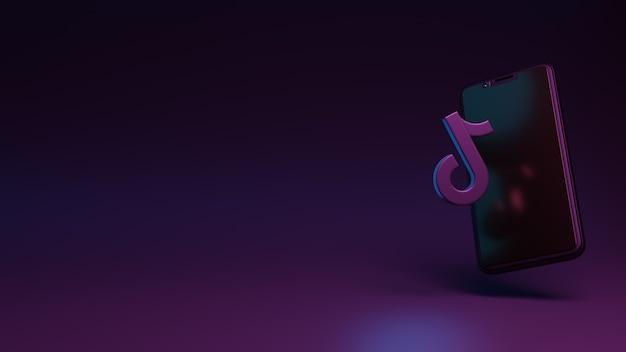 소셜 미디어 광고용 스마트폰 앱 3d 렌더링이 있는 tiktok 아이콘