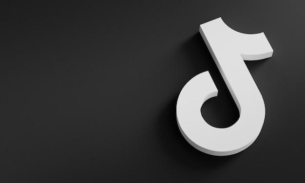 Tiktok logo минимальный простой дизайн шаблона. копировать космос 3d