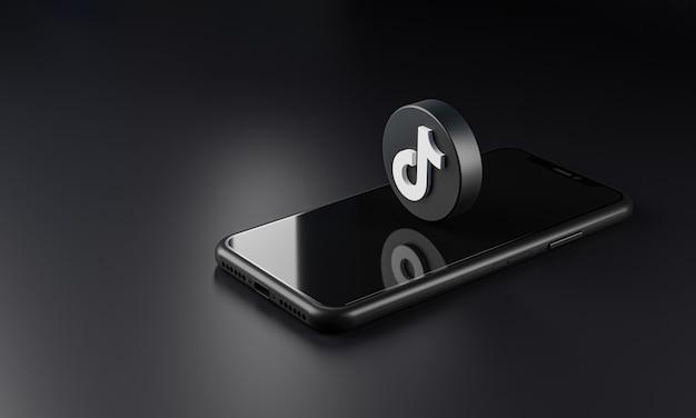 Значок логотипа tiktok над смартфоном, 3d-рендеринг