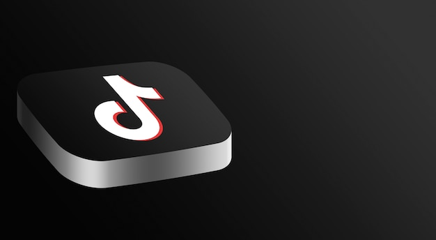Tiktok logo minimal design 3d