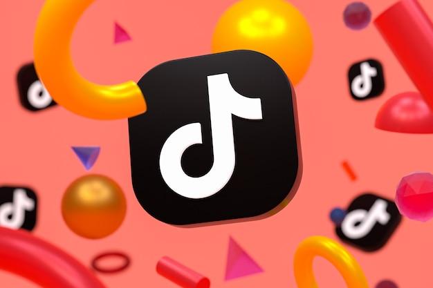 抽象的なジオメトリの背景にtiktokのロゴ