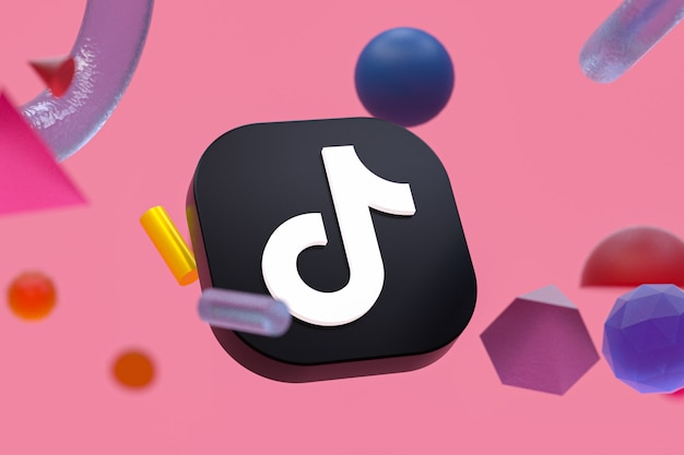Логотип tiktok на фоне абстрактной геометрии