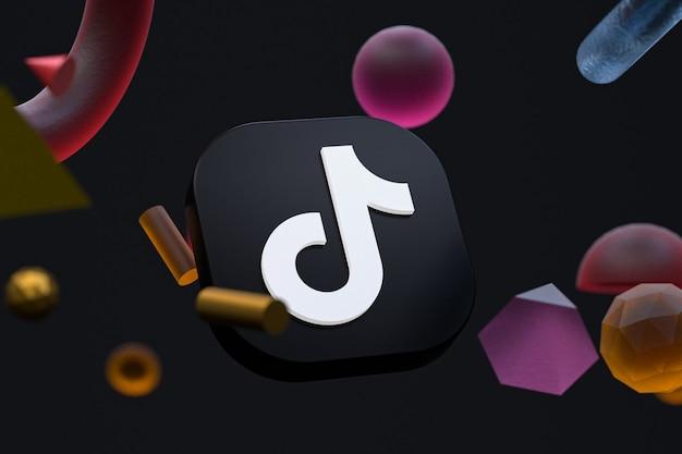 Логотип tiktok на абстрактной геометрии