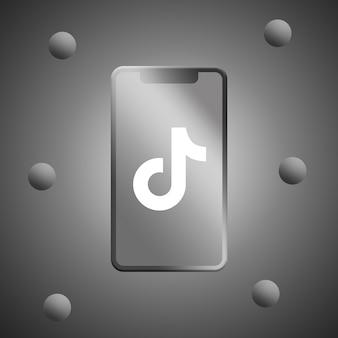 電話スクリーンの3dレンダリングのtiktokロゴ