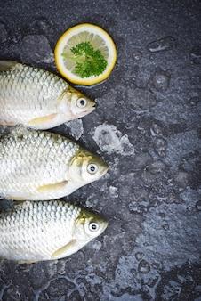 氷の上でティラピアの魚