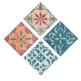 タイルセラミックオリエンタルパターンアズレージョ水彩イラスト手描きシームレスプリントテキスタイルリアルなスタイル