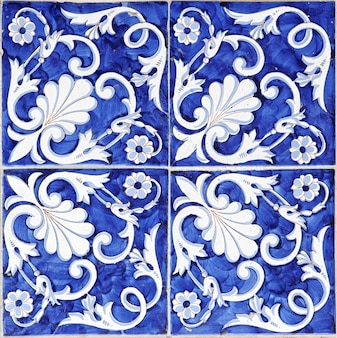 Tile texture background with blue majolica