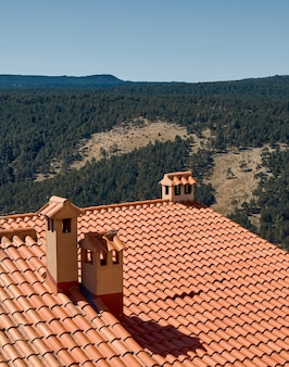 집의 기와 지붕입니다. 벽난로가 있는 시골집