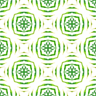 タイル張りの水彩画の背景。グリーン実際の自由奔放に生きるシックな夏のデザイン。手描きのタイル張りの水彩画の境界線。テキスタイル対応の繊細なプリント、水着生地、壁紙、ラッピング。