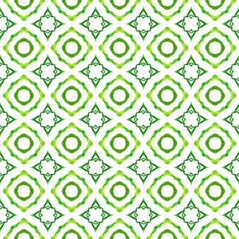 Tiled watercolor background. green amazing boho chic summer design. hand painted tiled watercolor border. textile ready attractive print, swimwear fabric, wallpaper, wrapping.