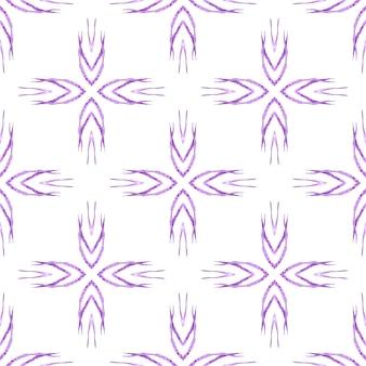 タイル張りの水彩画の背景。紫の崇高な自由奔放に生きるシックな夏のデザイン。テキスタイルレディラディアントプリント、水着生地、壁紙、ラッピング。手描きのタイル張りの水彩画の境界線。