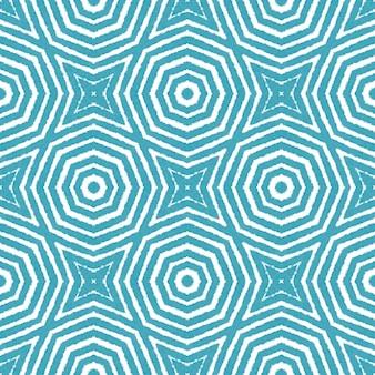타일된 수채화 패턴입니다. 청록색 대칭 만화경 배경입니다. 손으로 그린 타일된 수채화 원활한. 텍스타일 레디 유니크 프린트, 수영복 원단, 벽지, 랩핑.