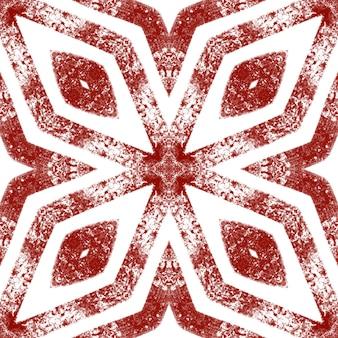タイル張りの水彩パターン。ワインレッド対称万華鏡の背景。シームレスな手描きのタイル張りの水彩画。テキスタイル対応の著名なプリント、水着生地、壁紙、ラッピング。