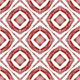 Плиточный акварельный образец. вино красный симметричный калейдоскоп фон. текстиль готов, захватывающий дух принт, ткань для купальников, обои, упаковка. ручная роспись плиткой акварель бесшовные.