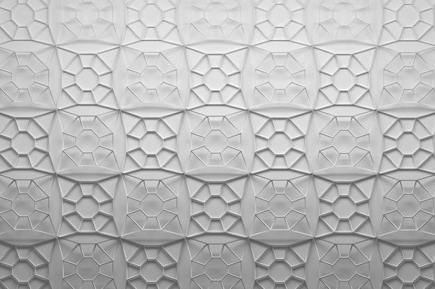 Tiles made of polygonal mesh shapes with eight edges