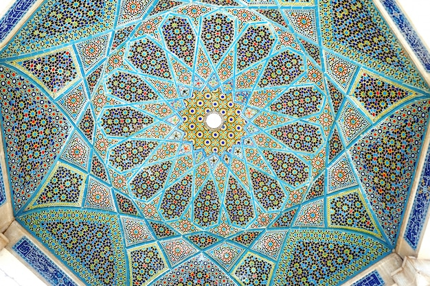 Tilework on the ceiling of the tomb of hafez pavilion.