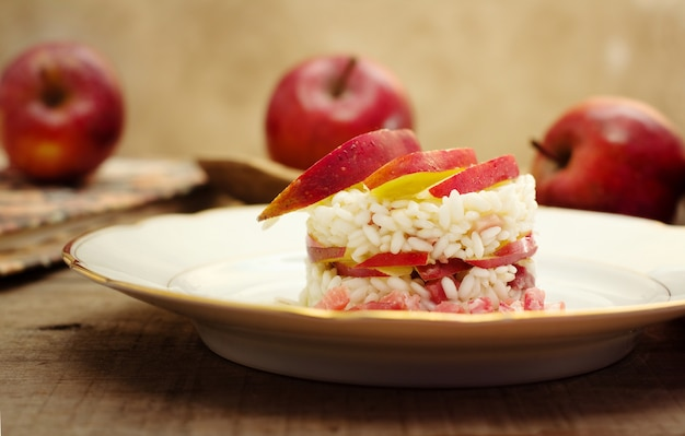 Timbale of rice, speck and red apple