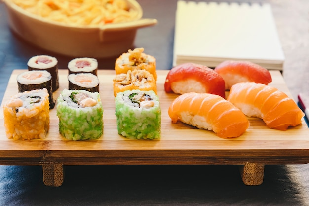 Timber board with sushi