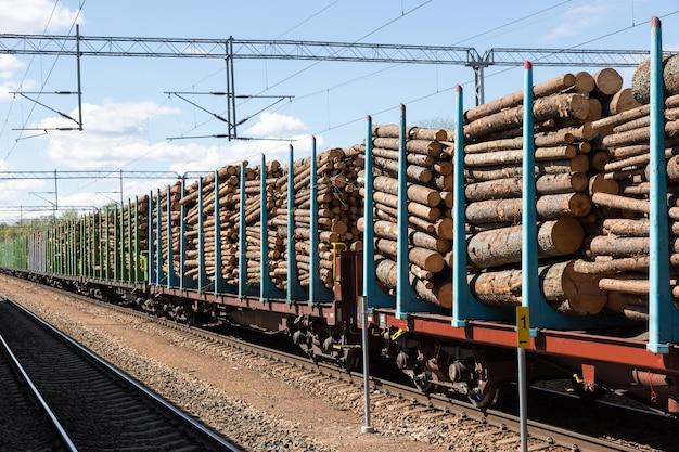 Перевозка леса по железной дороге Premium Фотографии