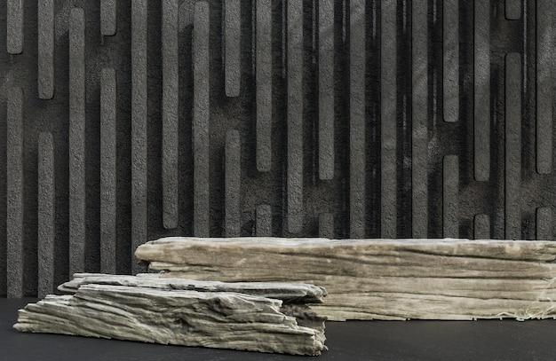 石の壁の背景の豪華なスタイルの製品プレゼンテーションのための木材の表彰台。、3dモデルとイラスト。