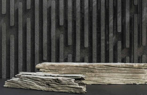 Timber podium for product presentation on stone wall background luxury style.,3d model and illustration.