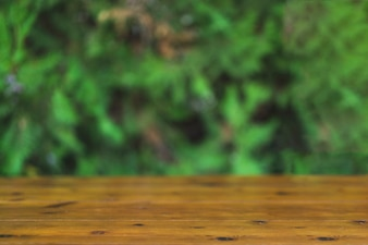Timber tabletop on blurred green background