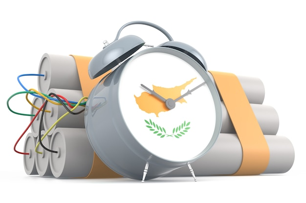 Time bomb with cypriot flag. 3d rendering
