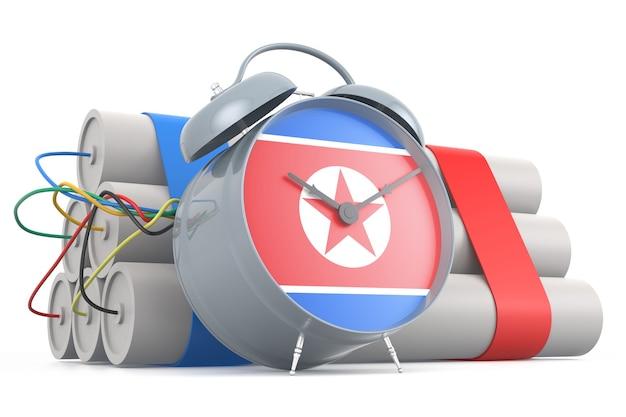 北朝鮮の旗が付いた時限爆弾。 3dレンダリング