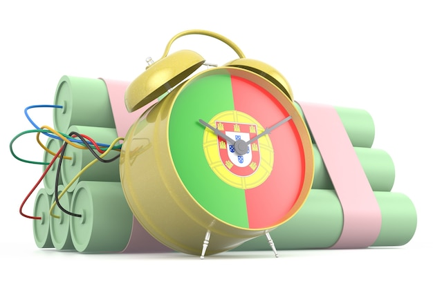 Time bomb with portuguese flag. 3d rendering