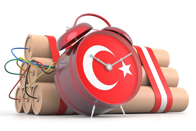 Time bomb with turkish flag. 3d rendering