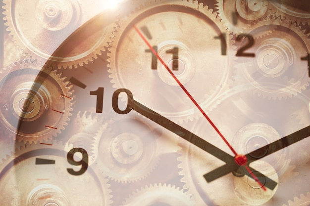 Time clock face overlay with gear rotation for working hours drives the business industry forward concept.