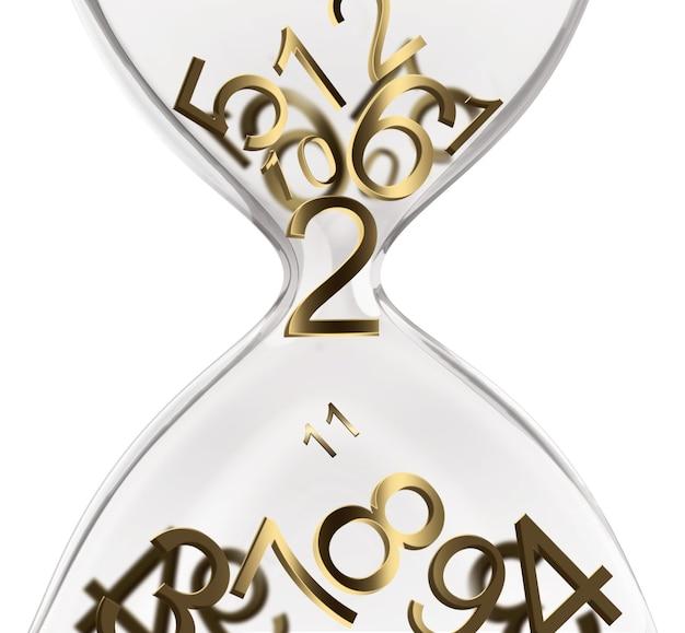 Дизайн концепции времени с песочными часами и числами