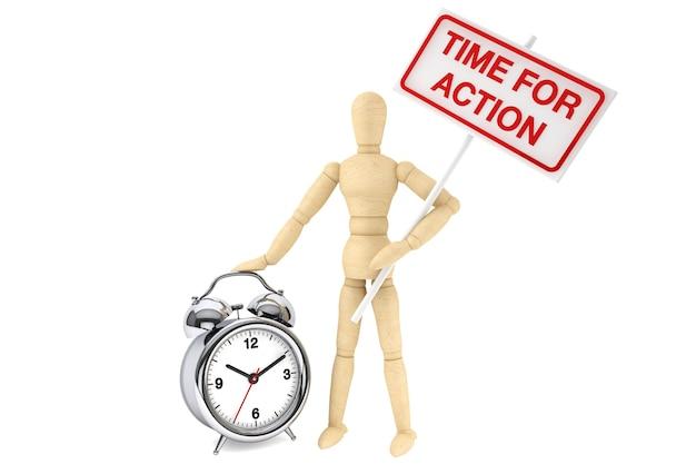 Время для концепции действий. деревянный манекен с баннером и будильником на белом фоне