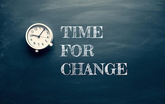 어두운 칠판에 텍스트와 시계가있는 변화와 동기 부여 개념을위한 시간. 성공에 대한 마인드