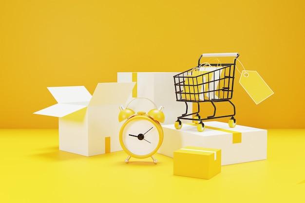 알람 시계와 함께 shoppings 개념에 대 한 시간입니다. 3d 렌더링.