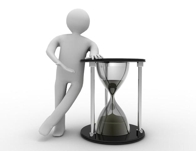 Время - деньги. 3d человек и песочные часы