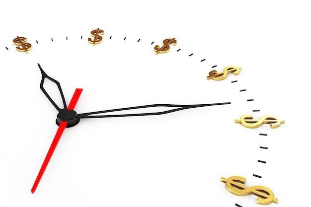 시간은 돈 개념입니다. 흰색 바탕에 달러 기호 시계