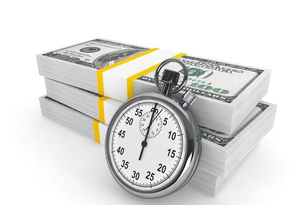 Время - деньги. сто долларов и секундомер на белом фоне