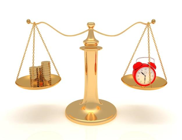 Время - деньги. весы, часы и деньги. 3d визуализированная иллюстрация