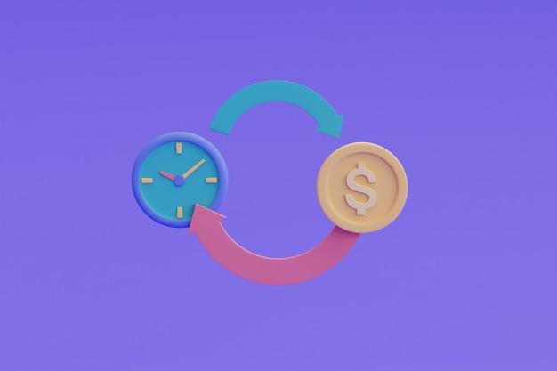 時間はお金の概念であり、時間は収入、支払い期限に変換されます。3dレンダリング。